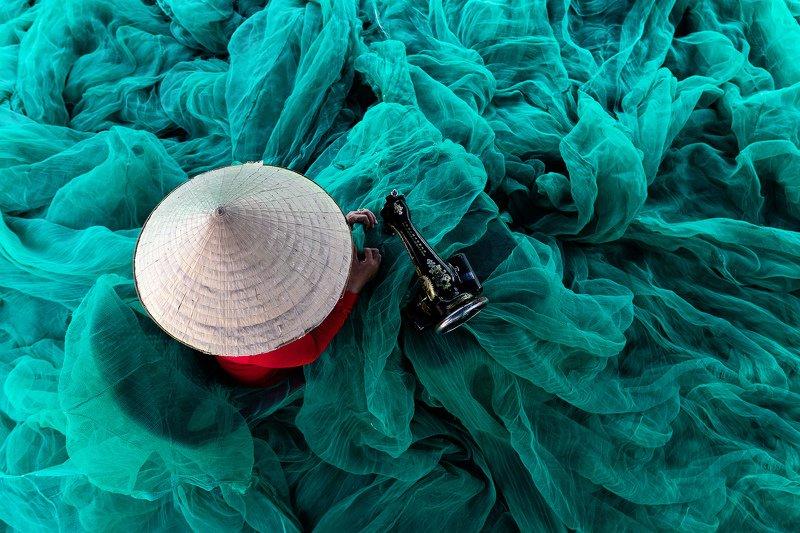 vietnam, fishing net Fishingnet Ladyphoto preview