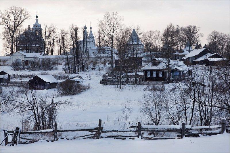 зима, село, монастырь, плетень, снег, Монастырь.photo preview
