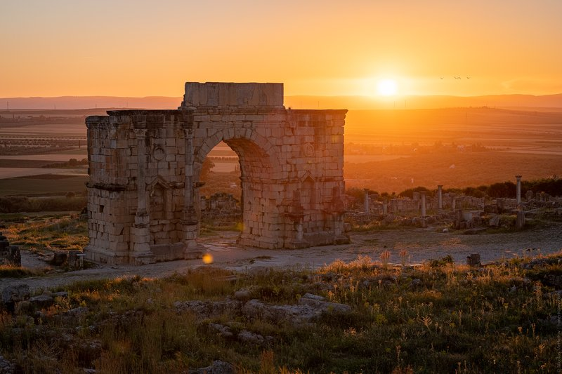 morocco africa volubilis caracalla arch arc travel landscape sunrise ancient city ruins rome Арка Каракаллы / Arch of Caracallaphoto preview