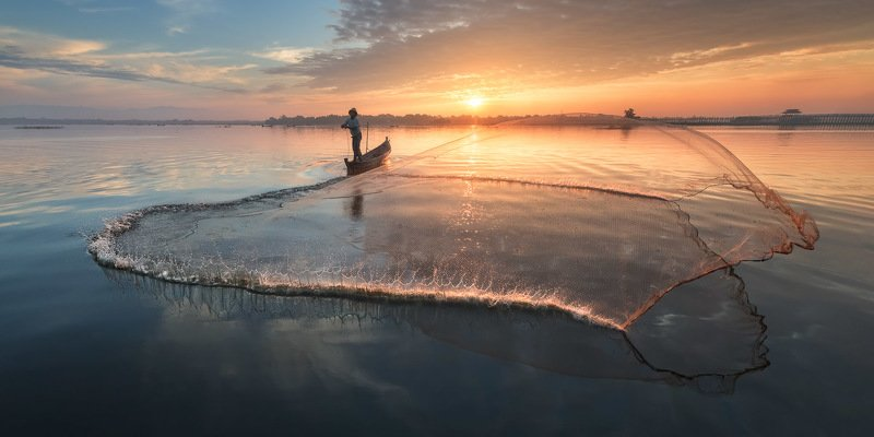 amarapura, asia, asian, balance, birma, blue, boat, burma, burmese, catch, countryside, culture, dawn, early, fish, fisherman, fishing, freshwater, kayak, labor, lake, landscape, life, man, mandalay, morning, myanmar, nature, net, outdoor, paddle, reflect The Gathering - Firephoto preview
