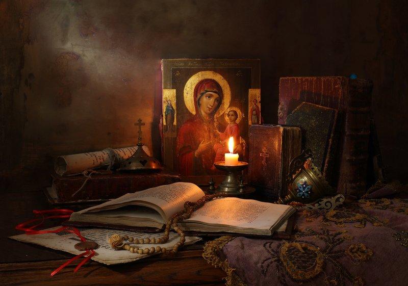 религия, икона, Богородица, свеча, книги ***photo preview