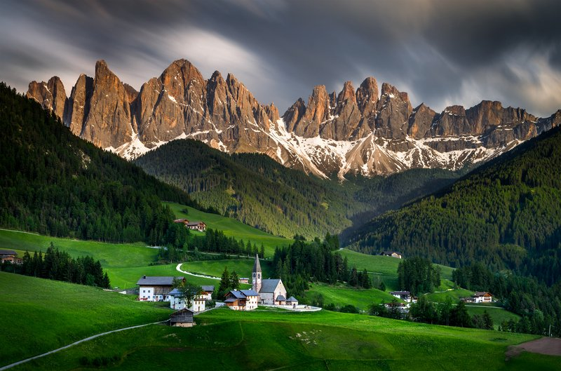 landscape nature scenery chapel church clouds mountain sunset low exposure italy dolomites Expectation gusts, Santa Maddalenaphoto preview
