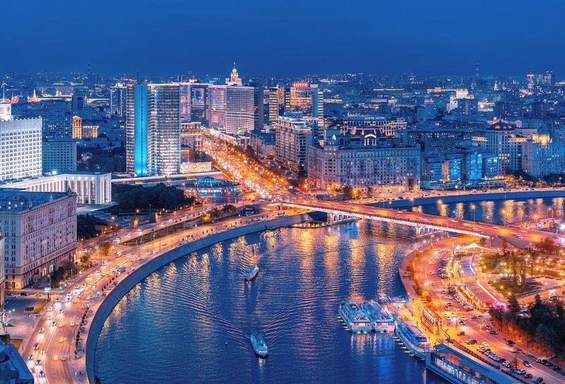 сумерки, москва, арбат, архитектура, город, столица, дорога, перпектива, река Московские сумеркиphoto preview
