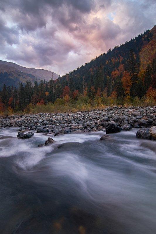 пейзаж,горы,кавказ,домбай,река,длинная выдержка,закат,вечер,осень,склоны,природа, Вечер в окрестностях Домбая.photo preview