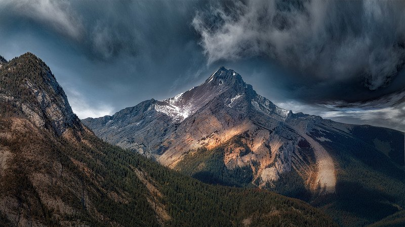 canada, alberta, sky, mountains, sunset, clouds, nikon, d850, @1pro.photo Сквозь века и непогоду/Through the centuries and stormsphoto preview