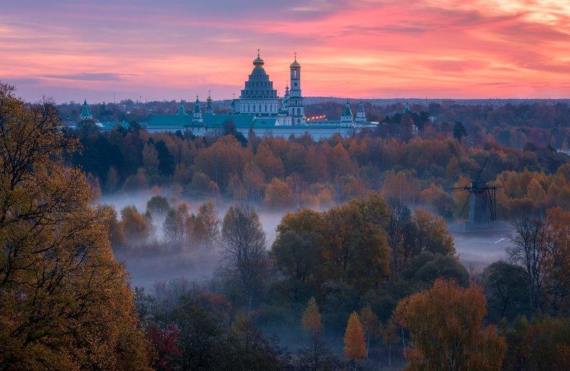 утро, рассвет, природа, туман, река, истра Истринские просторыphoto preview