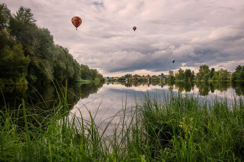 воздушный шар, вода, отражение,пейзаж Фиестаphoto preview