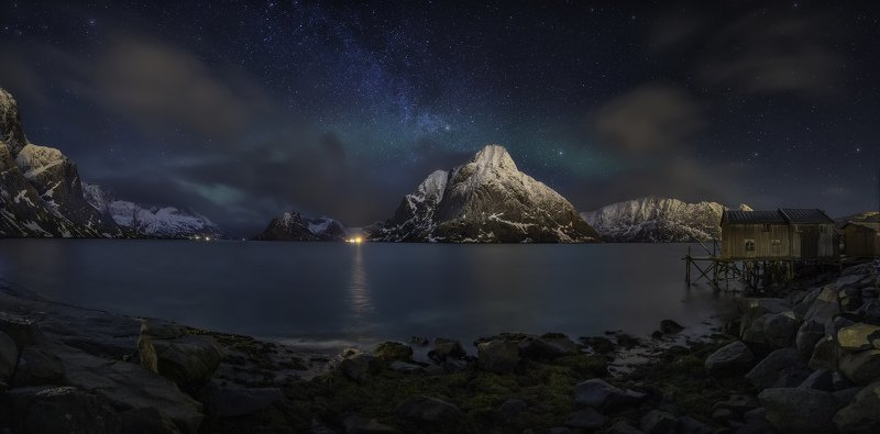 Landscape, Nature, Night, Stars, Sky, Blue, Panoramic, Mountains, Norway  Under the Starsphoto preview