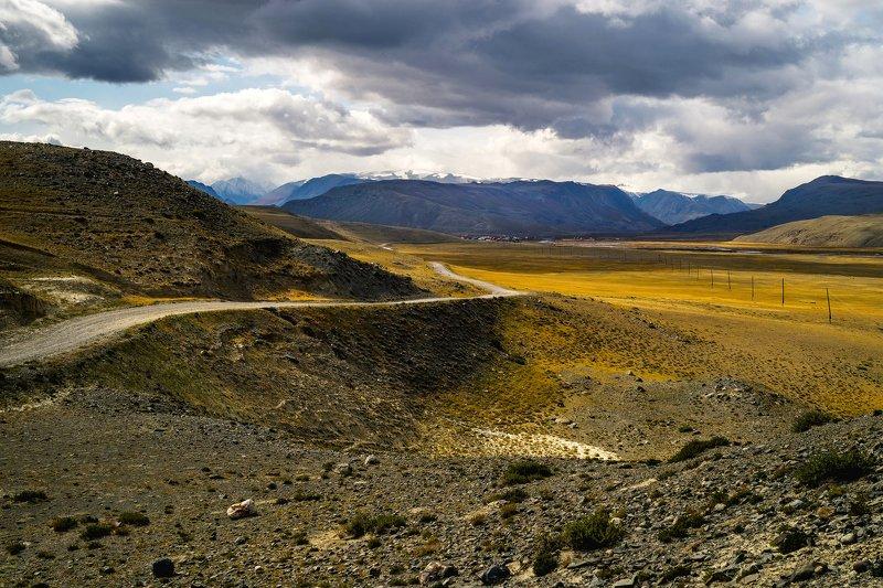 природа  алтай  горы пейзаж путешествие осень тени степь облака тучи  дорога бельтир окраина На окраине Старого Бельтира...photo preview
