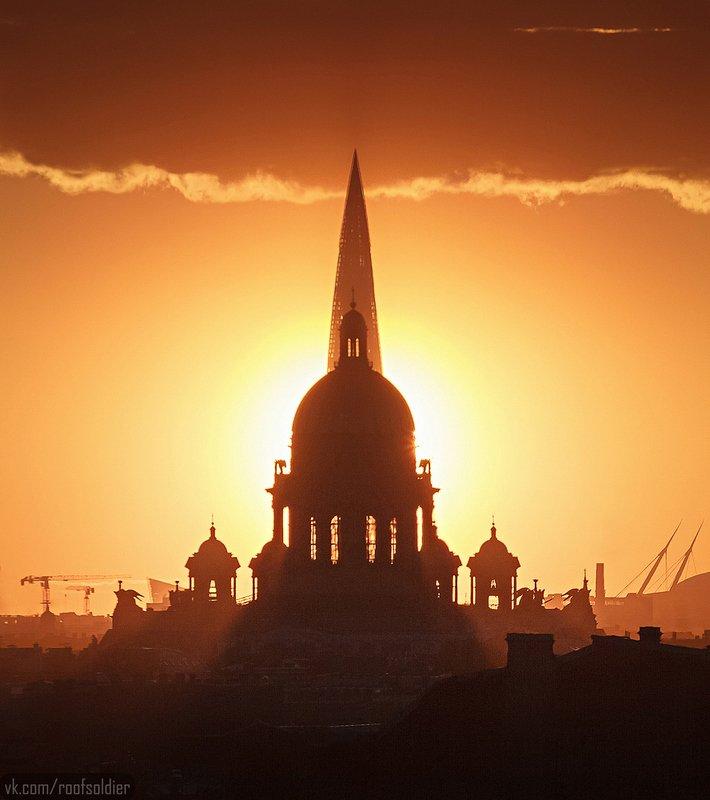 Город, пейзаж, закат, небоскреб, крыша, церковь, Санкт-Петербург Космодром \