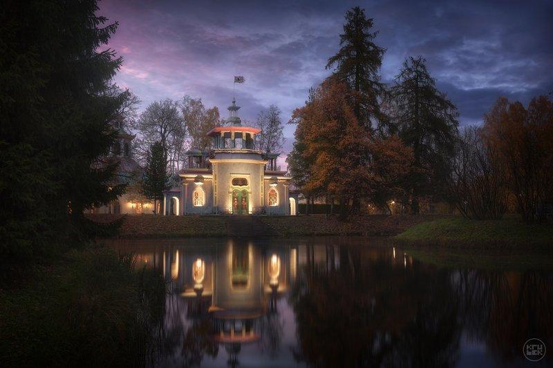 пушкин, осень, вечер, подсветка, екатерининский парк Осеннее волшебство у Скрипучей Беседкиphoto preview