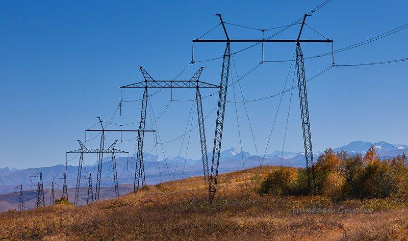 кавказ горы осень электролиния Осенние этюды. №5photo preview