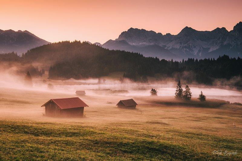 mountains, alps, bavaria, sky, germany, alpine, cottages, village, fog, lake, mountain, mount, landscape, light, sunrise, sun, dawn Mistphoto preview