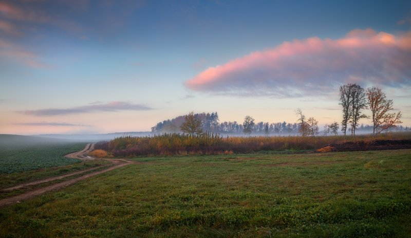 рассвет, дорога, небо, осень, Осенняяphoto preview