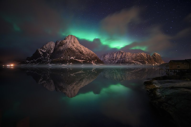 Night, Northen Light, Beautiful, travel, Mountains, Water, reflection, norway Mirror at nightphoto preview