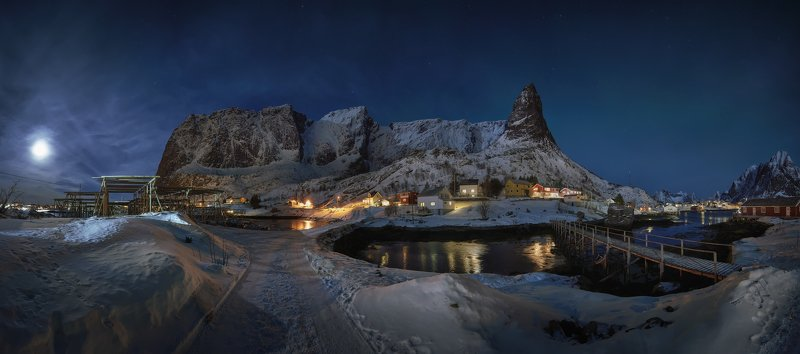 Night, Nature, Mountains, stars, Lights, Travel, Landscape, Panoramic, Norway The mountainphoto preview