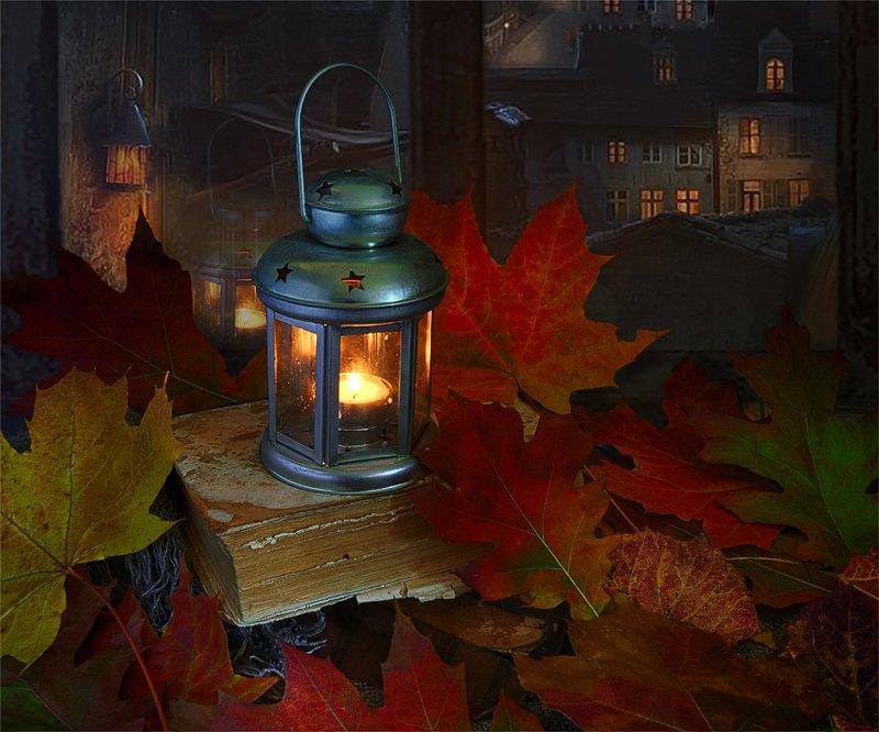 still life, натюрморт,    винтаж,    ретро, осень, осенние листья, свеча, фонарь, окно, осенний натюрмортphoto preview