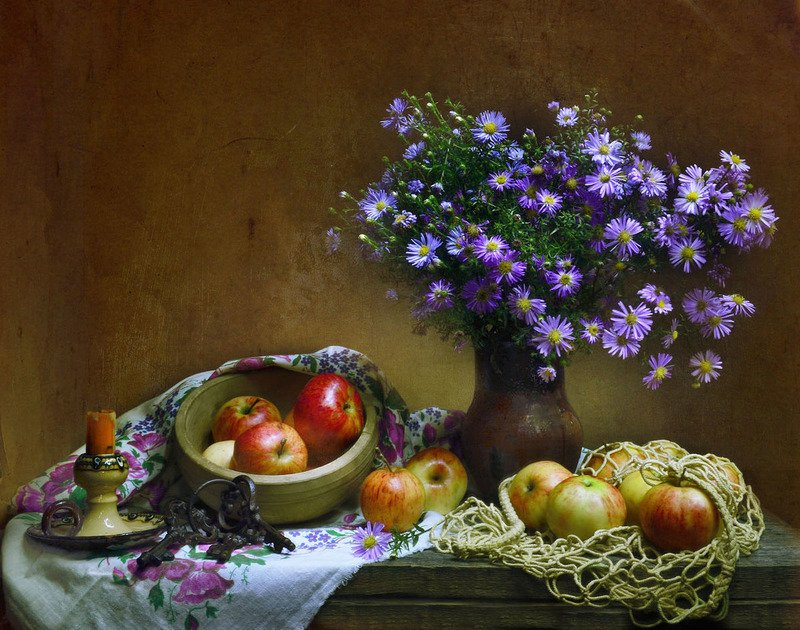 still life, натюрморт,яблоки, цветы, фрукты, фото натюрморт, световая кисть, осень, октябрь, астры Мелодия осенней песни...photo preview