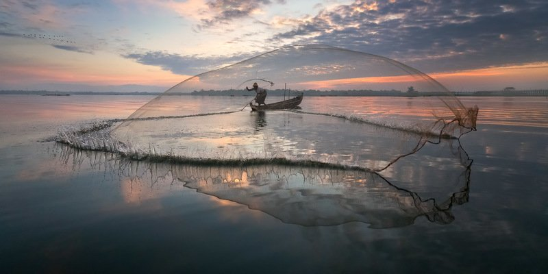 amarapura, asia, asian, balance, birma, blue, boat, burma, burmese, catch, countryside, culture, dawn, early, fish, fisherman, fishing, freshwater, kayak, labor, lake, landscape, life, man, mandalay, morning, myanmar, nature, net, outdoor, paddle, reflect The Gathering - Waterphoto preview