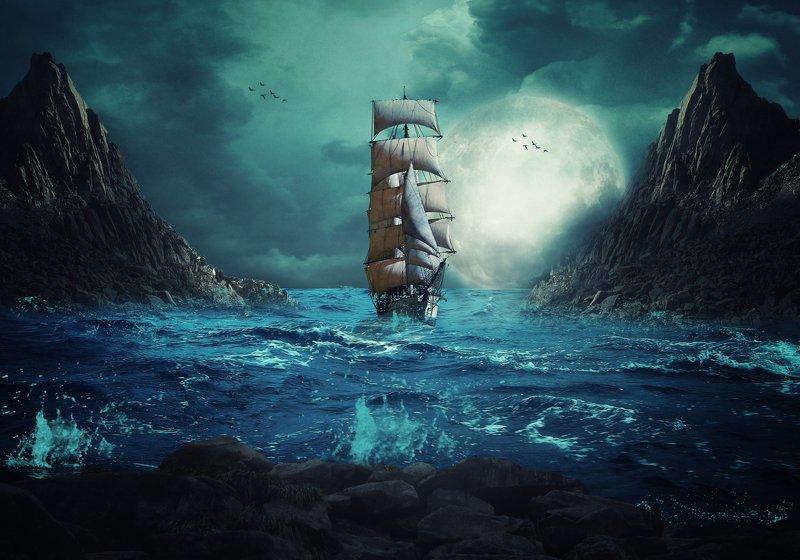 корабль, море, скалы, луна *****photo preview