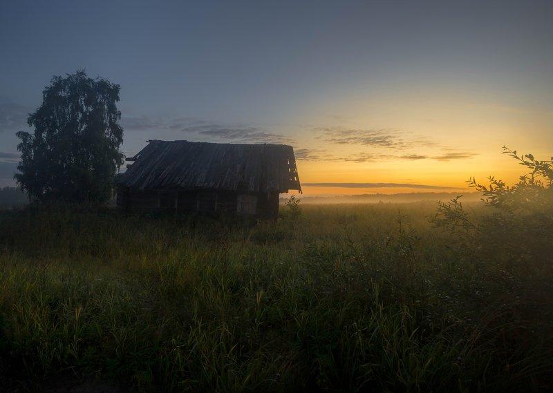 кенозерье, деревня ,природа, туман, утро, север, архангельск, дом, рассвет Встречает рассветphoto preview