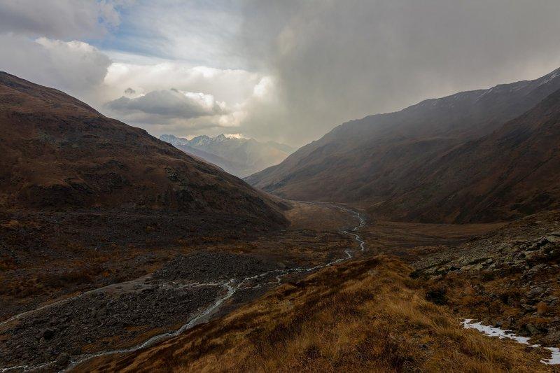 горы, облака, кавказ дорога в осень...photo preview