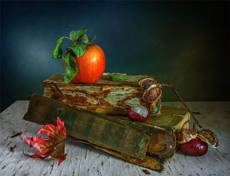 still life, натюрморт,    винтаж,  ретро, книги, яблоко, еда, каштаны, осенний лист, натюрморт с яблоком, книгами и каштанамиphoto preview