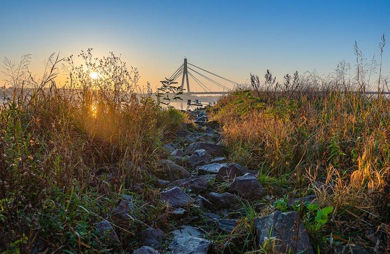 мост расвет река Вид на Северный мостphoto preview