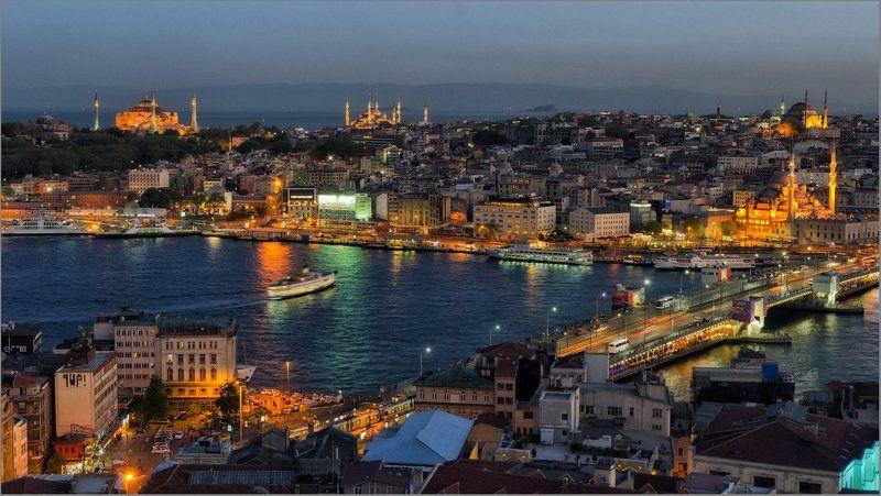 стамбул, istanbul Вечер в городе Сphoto preview