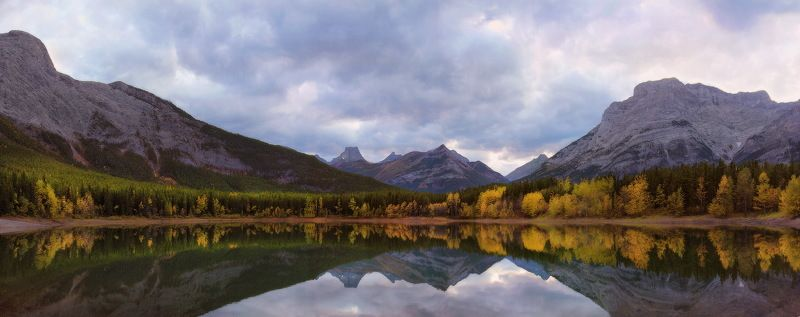 канада, скалистые горы, озеро, осень, отражения, панорама ***photo preview