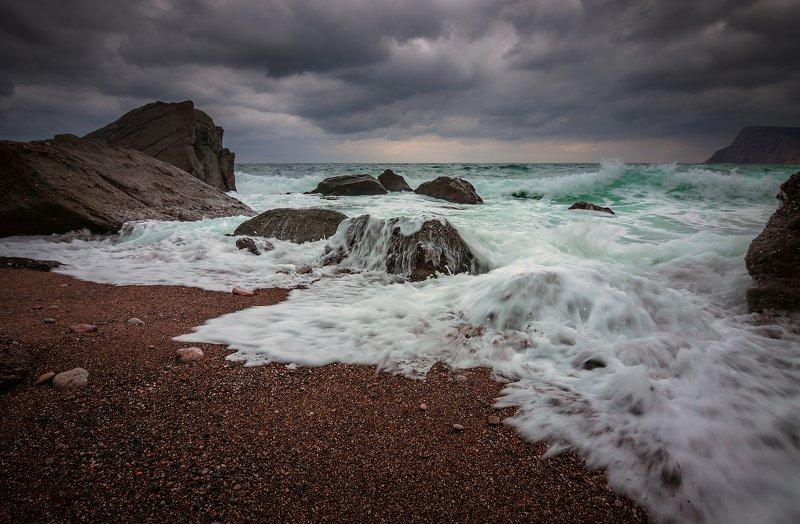 крым, пейзаж, зима, вода, море, камни, облака, горы, шторм, чёрное море, И снова про море...photo preview