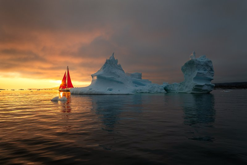 greenland, sailing, sunset, summer, iceberg Into The Darkphoto preview