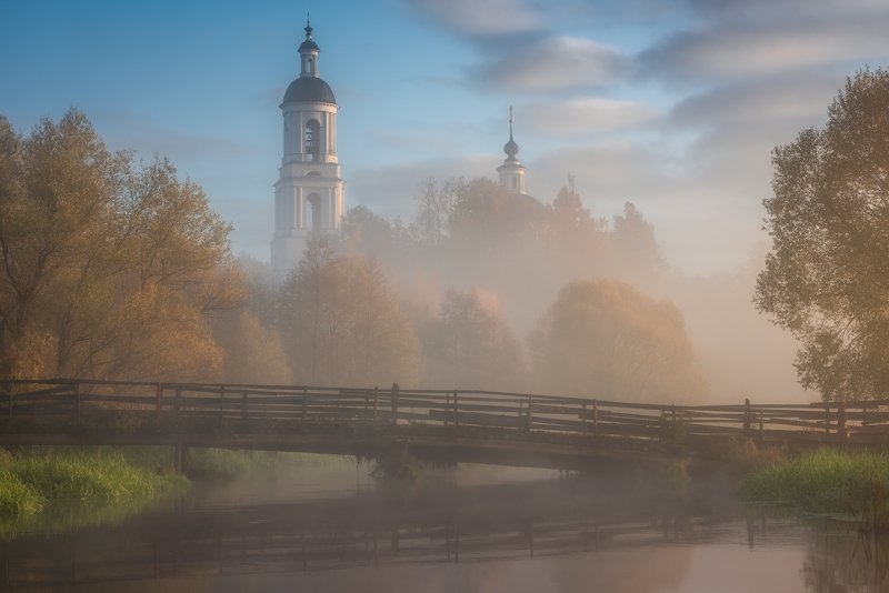утро, рассвет, природа, туман, филипповское В свете золотомphoto preview