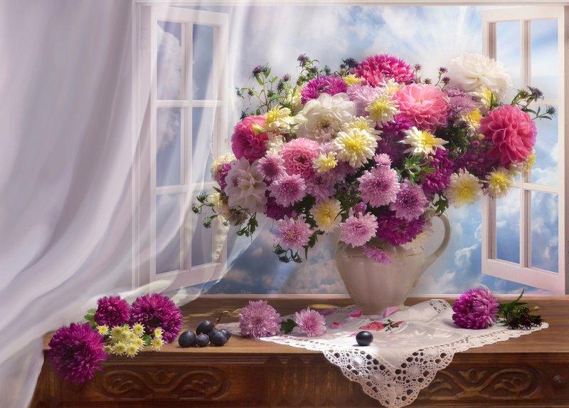 still life, натюрморт,фото натюрморт, стихи, октябрь, осень,цветы, хризантемы, георгины ...пусть нам останутся цветы...photo preview