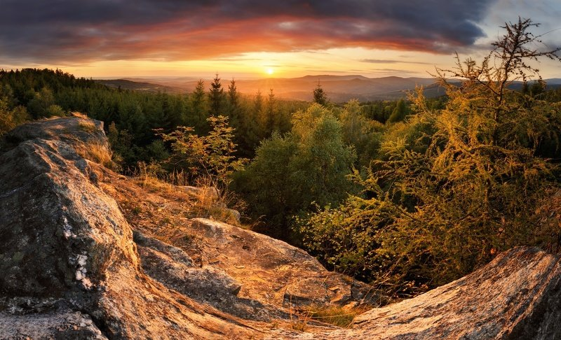 landscape, tree, sunset, panorama, rocks Rocks at Ferdinandovphoto preview