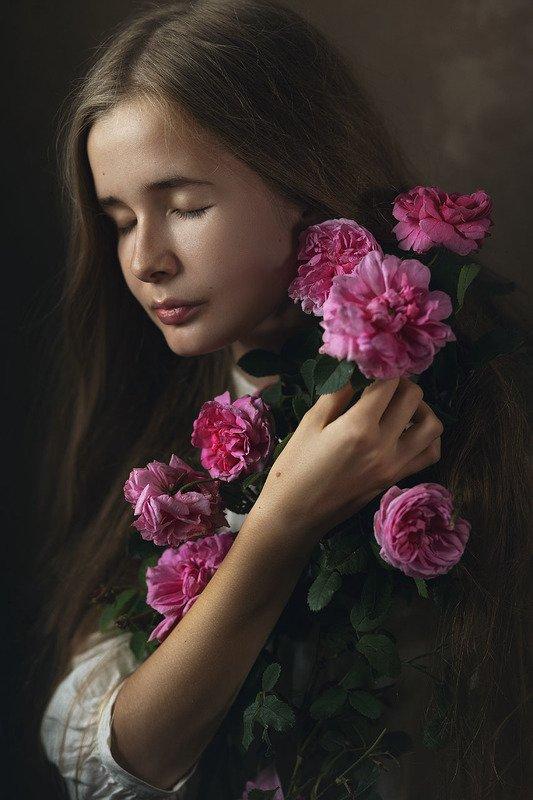 портрет, девушка, розы Розыphoto preview