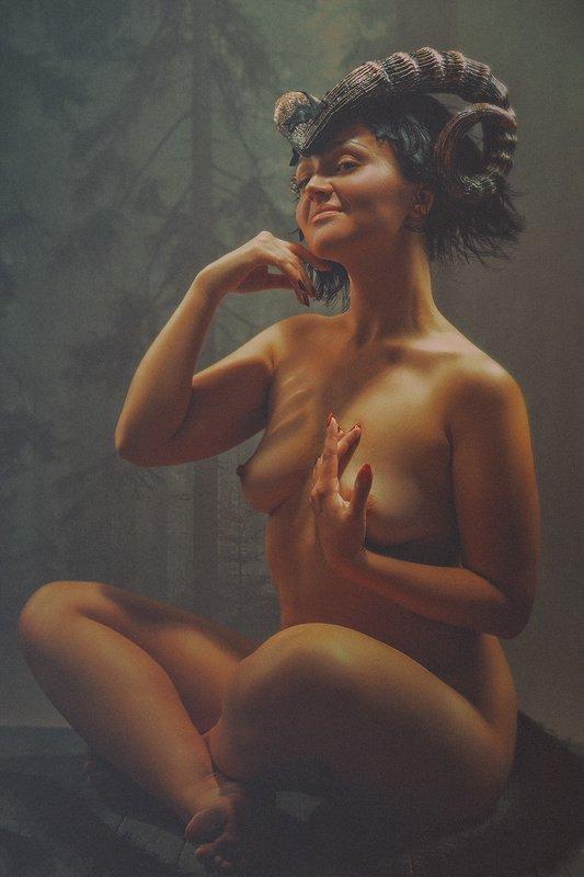 female, fine, art, nudes, faun, portrait, nature, demon, myth, fairy tale, fantasy, immagination, impression, desire, nature, woman FAUNphoto preview