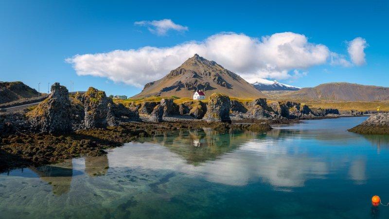 исландия, арнарстапи, iceland, arnarstapi, гора, поплавок, домик, море Поплавокphoto preview