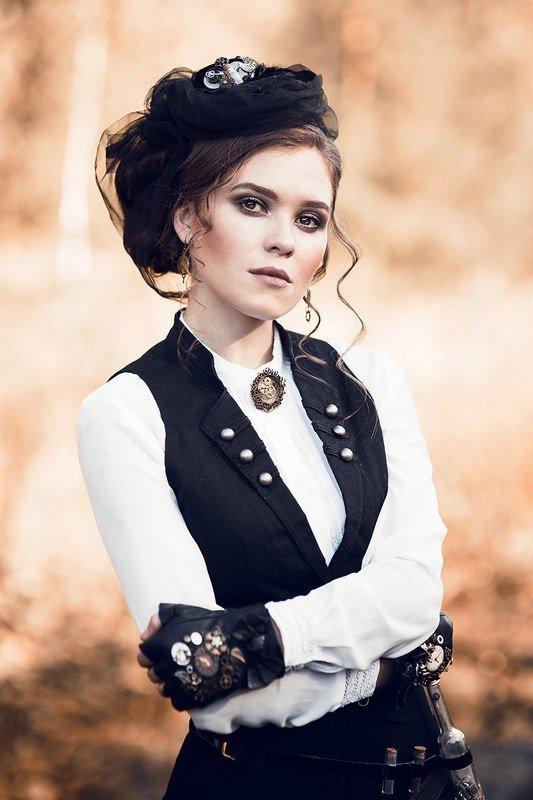 девушка, стим панк, стиль, ретро, красивая Дашаphoto preview
