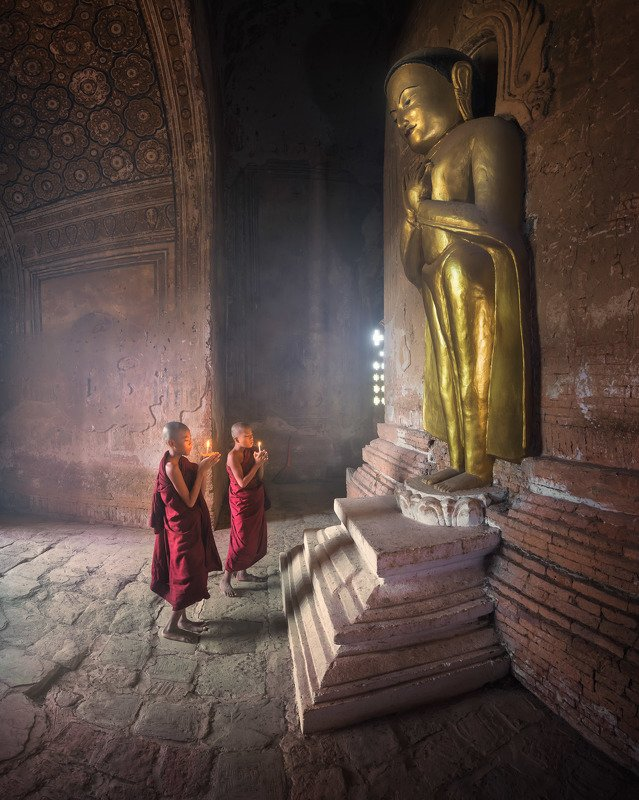 ancient, archeological, architecture, asia, asian, bagan, belief, buddha, buddhism, buddhist, burma, burmese, candle, children, culture, destination, faith, gold, golden, inside, interior, kid, landmark, light, little, man, meditation, monastery, monk, my In the Templephoto preview