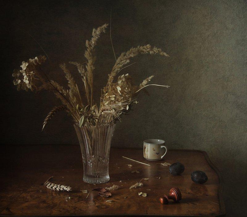 натюрморт, стекло, виноград, слива Осенний цейтнотphoto preview