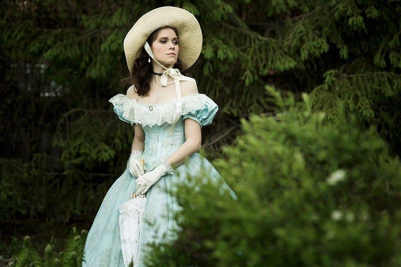 стиль, ретро, красивая ,шляпа, платье, история, литература, постановка Скарлетт photo preview