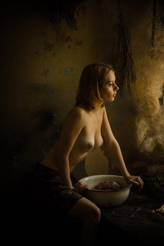 portrait, художественный портрет, nuart, артню ню, nu, nudeart, nude, арт-ню, girl, портрет, девушка, обнажённая грудь, винтаж, vintage, ретро, деревня, прачка, деревенский быт, русская девушка, сарафан, платье, ночнушка, таз, стирает Прачкаphoto preview