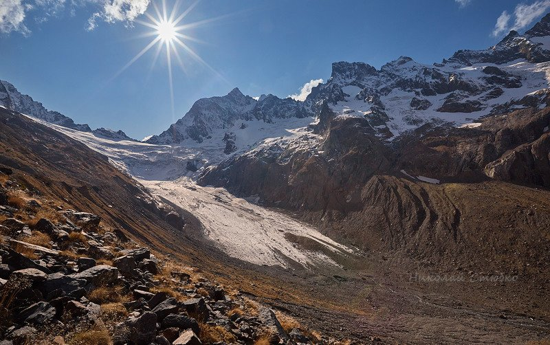 кавказ горы осень ледник птыш У ледникаphoto preview