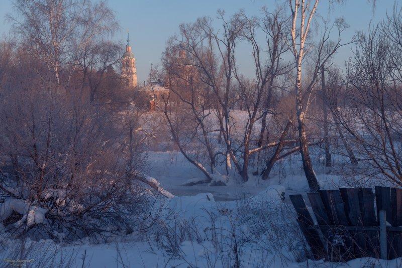 флорищи, владимирская область, глубинка, кольчугинский район, мороз, село, рассвет, утро, зима \