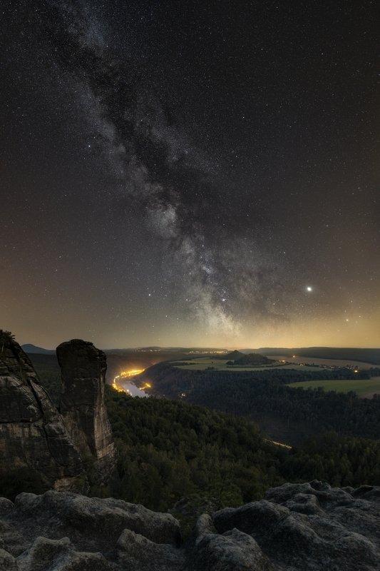 night, milkyway, rocks, saxony, galaxy, nightscape, Night is Saxony..photo preview