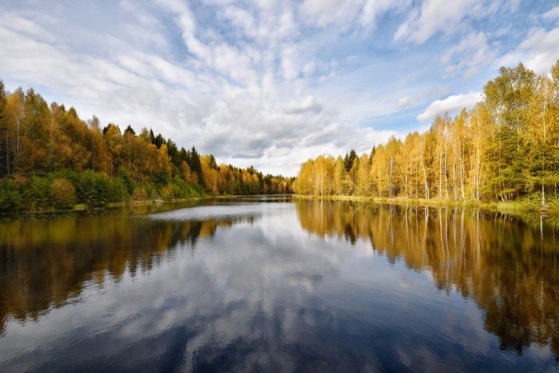 осень,река,лес,небо,облака,отражение,краски осеньphoto preview