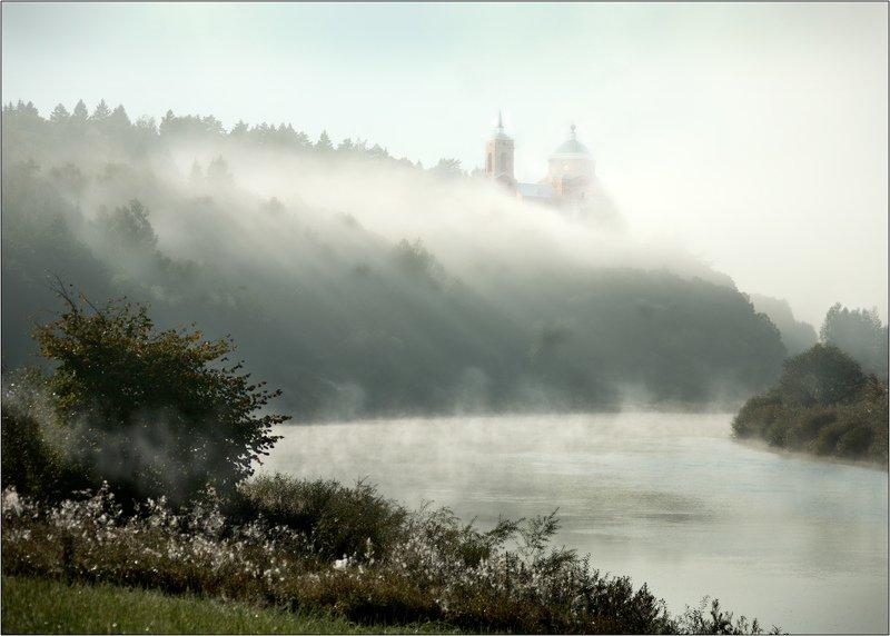 река, угра, храм, село, никола, ленивец, троицкий, туман, утро На Угреphoto preview