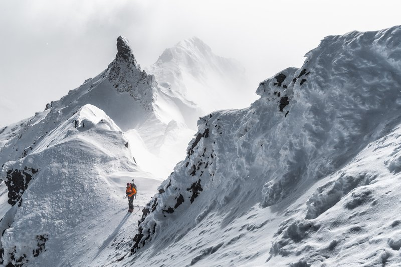 камчатка, горы, зима, скалистая У вершины Скалистойphoto preview