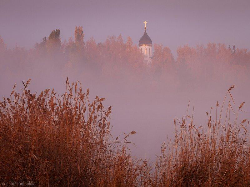 Осень, парк, церковь, туман, рассвет, озеро, Омск, Россия, пейзаж Парк Победы, Омскphoto preview